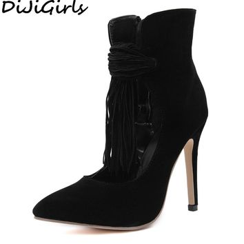 DiJiGirls Spring Ankle Boots Summer Cut Out Faux Suede Tassel Fringe Pumps Women Stilettos High Heel Shoes Party Streetwear