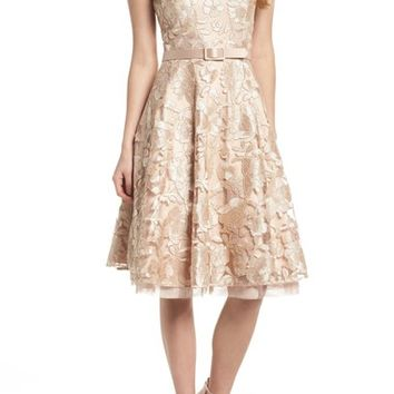 Eliza J Belted Lace Fit & Flare Dress | Nordstrom