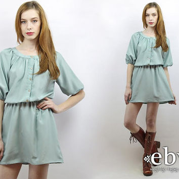 Vintage 80s Seafoam Mini Dress Tunic S M L 80s Mini Dress Seafoam Dress Secretary Dress Work Dress Day Dress Pastel Dress