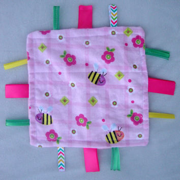 Sensory Blanket for Baby Girl - Pink Plaid Bees Flannel and Minky