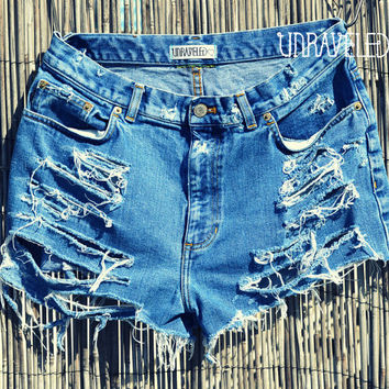 Distressed Denim Shorts MEDIUM by UnraveledClothing on Etsy