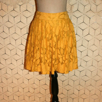 Lace Skirt Fall Skirt Boho Skirt Full Skirt Harvest Gold Yellow Goldenrod Ann Taylor Petite Skirt Size 6 Skirt Small Medium Womens Clothing