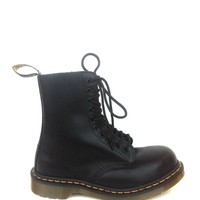 Dr. Martens – 1919 Fine Haircell 10 Eyelets Steel-Toe Ankle Boots In Black | Thirteen Vintage