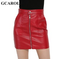 GCAROL 2017 Women Faux Leather Skirt Sexy PU Mini Skirt With Two Pockets High Quality A-Line Red Basic Skirt For 4 Season