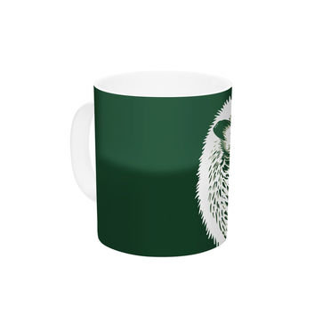"BarmalisiRTB ""Hedgehog"" Green White Ceramic Coffee Mug"