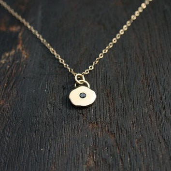 14K solid gold black diamond necklace.  Dainty, minimalist, small gold nugget disc pendant necklace with black diamond. Handmade, unique.