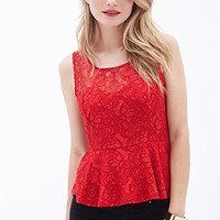 LOVE 21 Sleeveless Lace Peplum Top