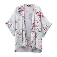 Multi Color Floral and Bird Print Bat Sleeve Cardigan
