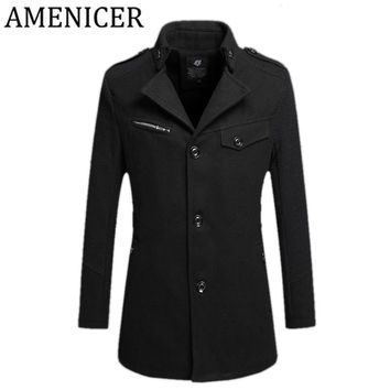 The New Mens Short Paragraph Jacket Single-Breasted Clothing Button Style Trench Coat Solid Color Bomber Coat For Windbreaker