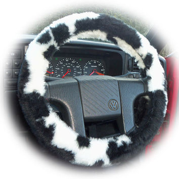 Black and White Cow faux fur furry fluffy fuzzy car Steering wheel cover