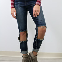 Crystal Tower Dark Wash High Rise Distressed Knees Skinny Jean
