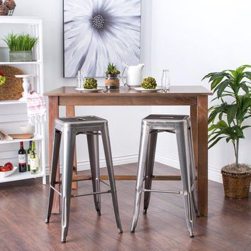 Simply Stainless 30 inch Gloss Bar Stools - Set of 2