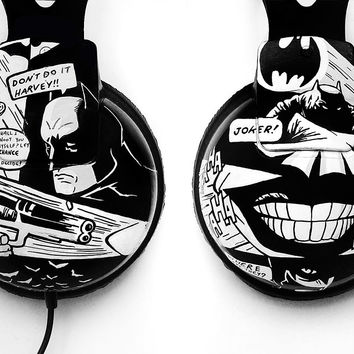Batman inspired large headphones - hand painted earphones black and white comics style