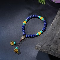 Flat Natural Lapis Lazuli Stone With 6 Syllable Mantra Tassel and Buddha Head Charm Mala Bracelet