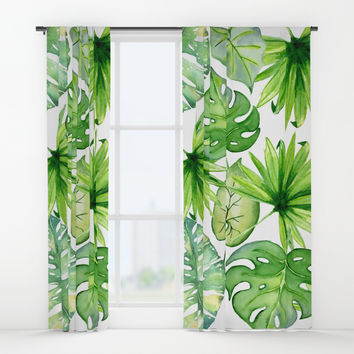 tropical leaves Window Curtains by sylviacookphotography