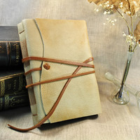 Rustic Leather Journal, Natural cream leather, antiqued pages