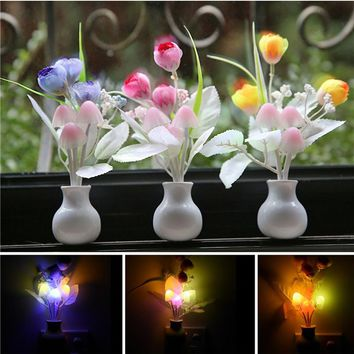 1pcs Colorful Sensor LED Mushroom Night Light Lamp Romantic Baby Kids Night Lamp Home Decoration 220V US Plug