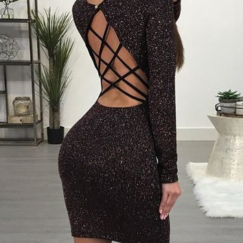 Gigi Glittering Caged Back Slinky Bodycon Dress