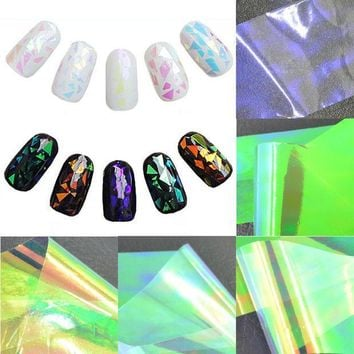 PEAPGB2 5 Sheets 3D Holographic Broken Glass Foils Finger Nail Art Mirror Stickers Glitter Stencil Decal DIY Manicure Design Tools