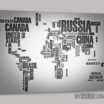 Typography Gray and Black World Map Large Wall Art Canvas Prints | Wall Art Map Canvas | Type World Map Canvas Painting