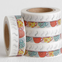 Steaming Coffee Cup Washi Tape, Coffee Lovers Gift Decorative Tape, Day Planner Sticker or Reminder Sticker 15mm