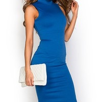 Samantha Royal Blue Bodycon High Neck Sleeveless Midi Dress