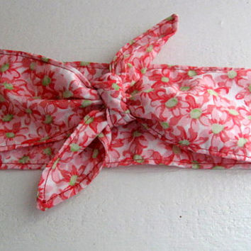 Hair Bandana, Rockabilly 50s Bandana, Bandana Headband, Pink, Knotted Bandana, BOHO Hairband, Women and Teens, Fabric Headband, HairBand
