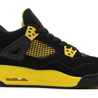 "NIKE AIR JORDAN 4 RETRO GS ""THUNDER"" BLACK/WHITE TOUR-YELLOW Nike Air Jordan 4 retro Black Yellow Thunder"