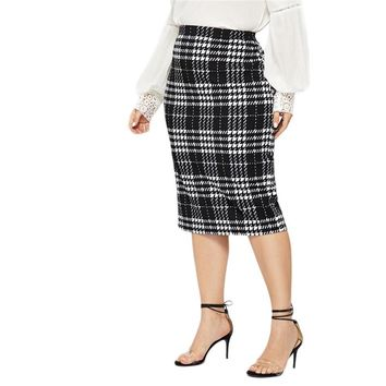 Black Solid Women Plus Size Elegant Pencil Skirt Office Lady Workwear Stretchy Bodycon Knee-Length Skirts