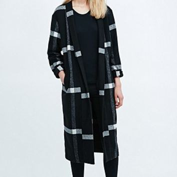 Libertine-Libertine Blown Check Overcoat in Black - Urban Outfitters