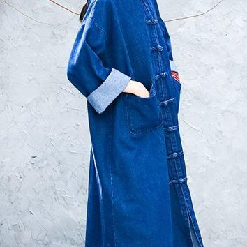 high quality cotton Chinese style zen cowboys long windbreaker coat lay meditation robe tang suits clothing taoist jacket blue