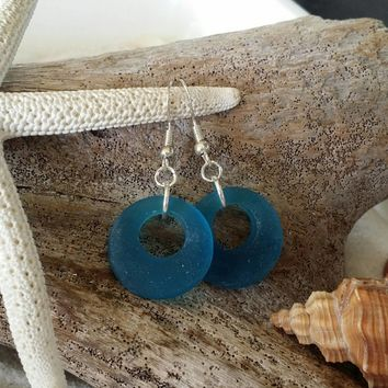 Handmade in Hawaii, Teal circle blue sea glass earrings,925 sterling silver hook, gift box. sea glass earrings.sea glass jewelry.