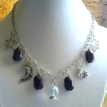 Moon and Star Necklace, Moon Jewelry, Star Jewelry, Crystal Ball Necklace, Celestial Necklace