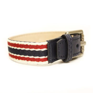 GUCCI Traditional Green/Red Web Unisex Buckle Bracelet Blue Leather: