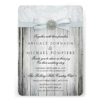 Rustic Chic Wedding Invitation with Sparkle