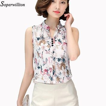 Soperwillton 2016 New Summer Women Tops Casual Sleeveless V-Neck Fashion Women Blouse Chiffon Print Blouses Big Size S-XL D02