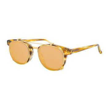 Linda Farrow Square Acetate Sunglasses w/ Clip-On Lenses, Gold/Tortoise
