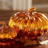 Orange Mercury Glass Pumpkins | Pottery Barn