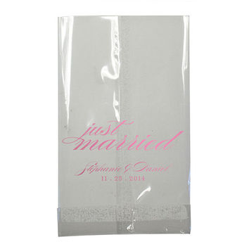 Wedding Candy Bar Bags Just Married Clear Small Cellophane Cello Favors Bags Foil Stamped Personalized Treat Custom Bridal Shower Rehearsal