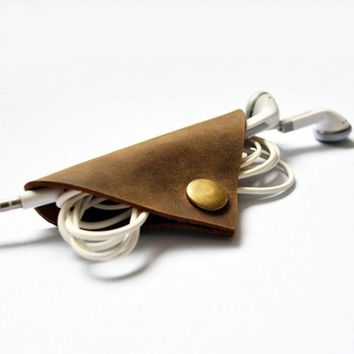 LMFEJ6 Handmade Leather Cable Cord Winder Holder