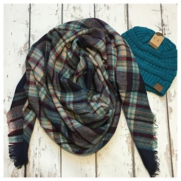 """Always My Style"" Cozy Navy, Teal, Lavander Blanket Scarf"