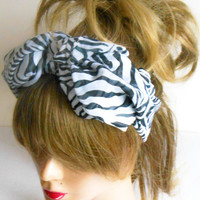 Black and White Hair band, headband zebra, zebra scarf, beach accessories, Summer Fashion, Mothers Gifts, Mothers Day gifts