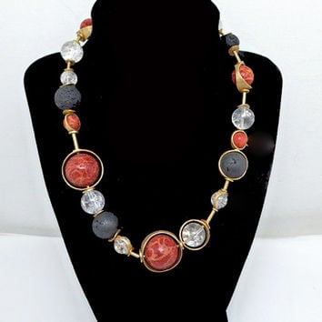Coral & Crystal Ball Necklace - Red Apple Coral, Black Sponge Coral, Crystal Ball Beads - Goldtone Artisan Vintage 1990's Statement Jewelry