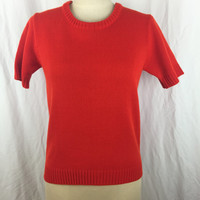 Vintage Red Short Sleeve Sweater Scoopneck by Zado Goldenberg Inc. Valentines Cotton Sweater Bust 34 M Medium