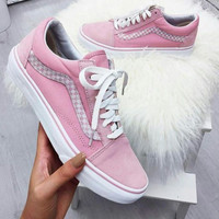 """""""Vans"""" With Warm Casual Shoes Men and women classic black cloth shoes Pink(braid line)"""