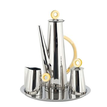 Nickel and Gold Ring Tea Set with Tray