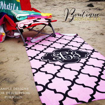 Monogrammed Beach Towel, personalized with your choice of custom colors and monogram