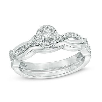 1/4 CT. T.W. Diamond Twist Frame Bridal Engagement Ring Set in 14K White Gold