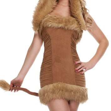 Brown Ruched Faux Fur Lion Costume