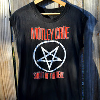 Vintage Motley Crue Shout at the Devil 1983 Pentagram Sleeveless Concert Shirt